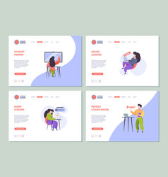 online education landing e learning processes for vector image