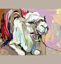 Original digital painting artwork of white camel vector