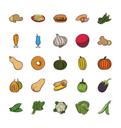 Pack of hand drawn food icons vector