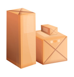 Packed parcel box icon cartoon style vector