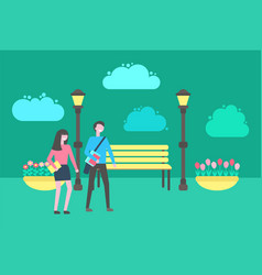 People walking in park benches lanterns outdoors vector