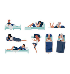 phone in bed cartoon people lying in bed vector image