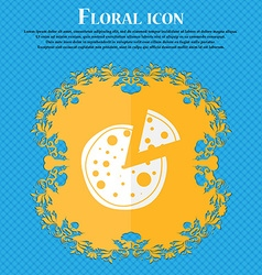 Pizza Icon Floral flat design on a blue abstract vector image