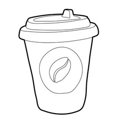 Plastic cup of coffee icon outline style vector