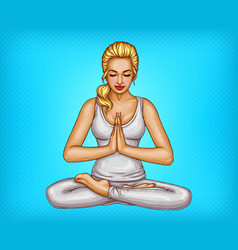 pop art girl meditates in lotus position vector image
