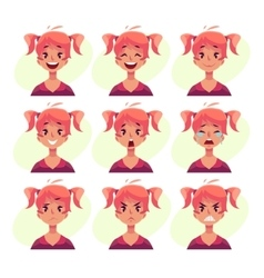 Red-haired girl with ponytails face expression vector