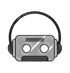 Retro cassette with earphones vector