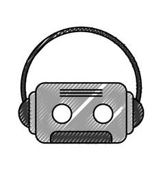 Retro cassette with earphones vector
