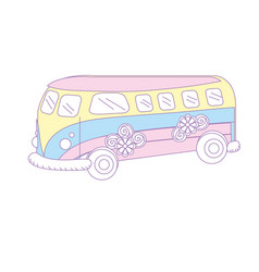 Retro hippie bus transportation with flowers vector