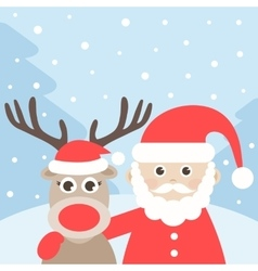 Santa Claus and deer in winter forest vector