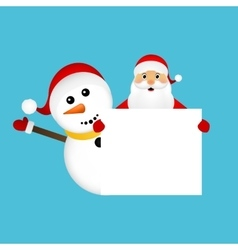 Santa claus and snowman with white blank vector