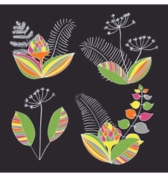 Scandinavian Floral Ornament Set vector image