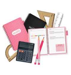 school supplies realistic calculator note vector image
