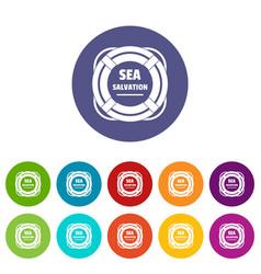 Sea salvation icons set color vector
