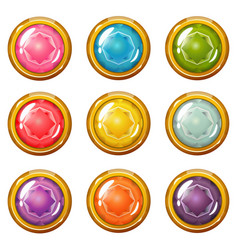set of bright golden-plated crystal buttons vector image