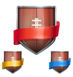 Set of Bright shield in the football ball inside vector image