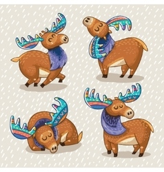 Set of cute cartoon hand drawn elks vector