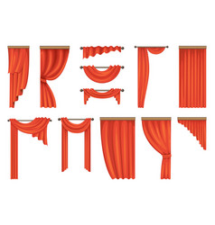 Set of theatre red curtains vector