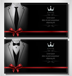 set of white tuxedo business card templates with b vector image