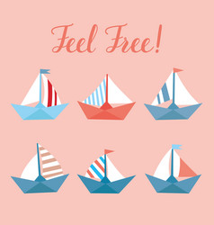 set with bright ships childish elements vector image