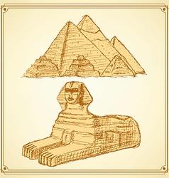 Sketch Egyptian symbols vector image