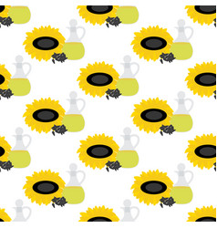 sunflower oil seamless pattern vector image