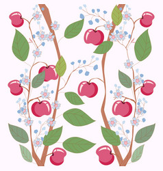 sweet apple branch floral seamless pattern vector image