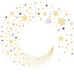 swirl gold and silver snowflakes vector image