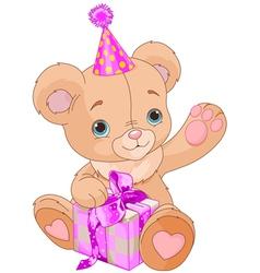 teddy bear holding gift vector image