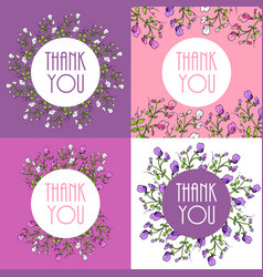 thank you cards set with beautiful sweet pea vector image