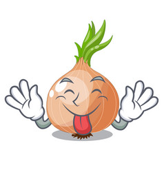tongue out cartoon ripe onion in the kitchen vector image