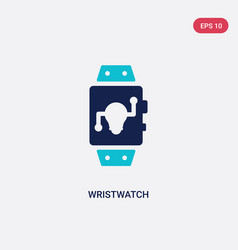 Two color wristwatch icon from artificial vector