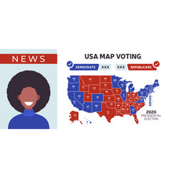 usa presidential election results map female news vector image