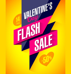 valentines day flash sale bright banner template vector image