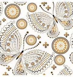 Vintage seamless pattern with gold butterflies vector