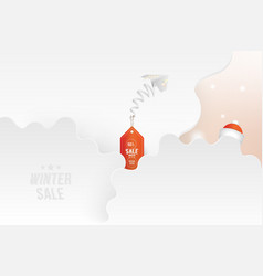 winter sale 50 special offer white paper airplane vector image