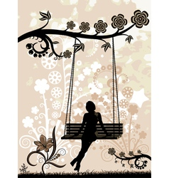 woman on a swing vector image
