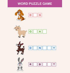 words puzzle children educational game vector image