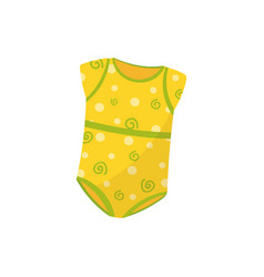 Yellow baby girl bodysuit with spiral and polka vector