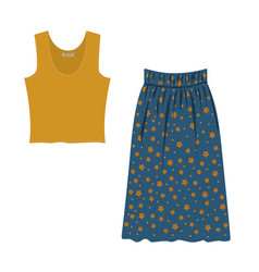 Yellow blouse and blue skirt decorated with vector