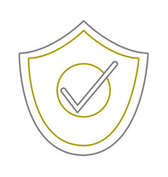 yellow line shield security and protection object vector image