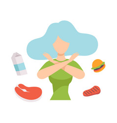 Young beautiful woman refusing unhealthy food vector