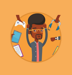 young man surrounded with his gadgets vector image