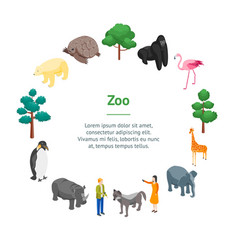 Zoo concept banner card circle 3d isometric view vector