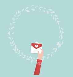 hand holding love letter for valentines day vector image vector image