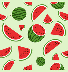 red watermelon seamless pattern summer vector image