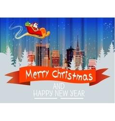 Santa Claus Sleigh Reindeer Fly Sky over City vector image vector image