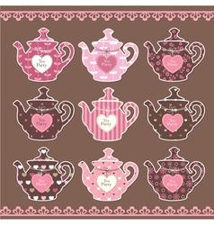 Set of vintage teapots vector image vector image