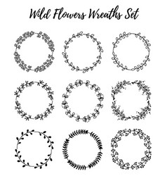 set of wild flowers wreaths isolated on white vector image