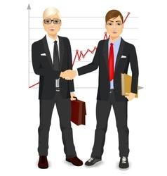 two businessmen shaking hands vector image vector image